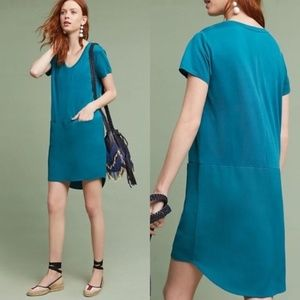 ANTHROPOLOGIE Loren Tunic Dress Teal Blue {M46}